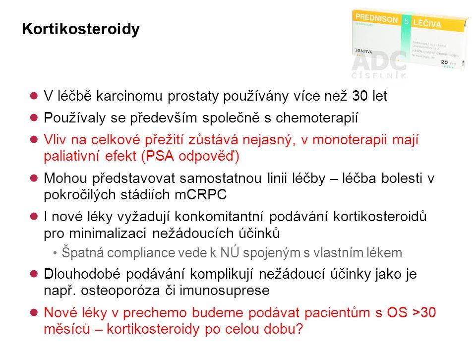 Kortikosteroidy ● V léčbě karcinomu prostaty používány více než 30 let ● Používaly se především společně s chemoterapií ● Vliv na celkové přežití zůstává nejasný, v monoterapii mají paliativní efekt (PSA odpověď) ● Mohou představovat samostatnou linii léčby – léčba bolesti v pokročilých stádiích mCRPC ● I nové léky vyžadují konkomitantní podávání kortikosteroidů pro minimalizaci nežádoucích účinků Špatná compliance vede k NÚ spojeným s vlastním lékem ● Dlouhodobé podávání komplikují nežádoucí účinky jako je např.