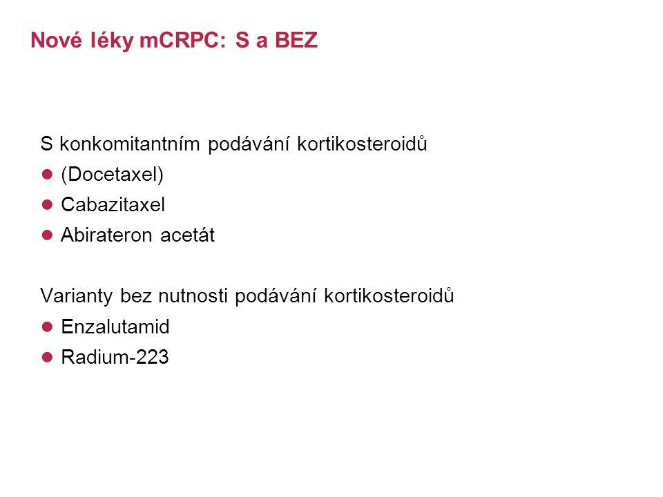 Nové léky mCRPC: S a BEZ S konkomitantním podávání kortikosteroidů ● (Docetaxel) ● Cabazitaxel ● Abirateron acetát Varianty bez nutnosti podávání kortikosteroidů ● Enzalutamid ● Radium-223