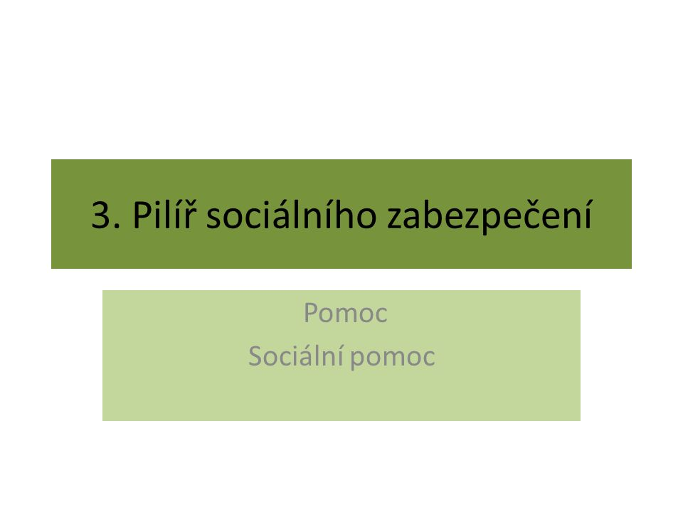 3. Pilíř sociálního zabezpečení Pomoc Sociální pomoc