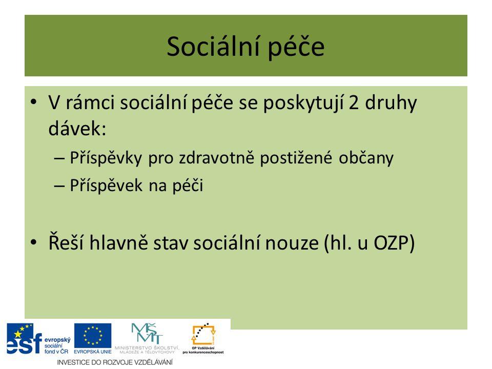 Sociální péče V rámci sociální péče se poskytují 2 druhy dávek: – Příspěvky pro zdravotně postižené občany – Příspěvek na péči Řeší hlavně stav sociální nouze (hl.