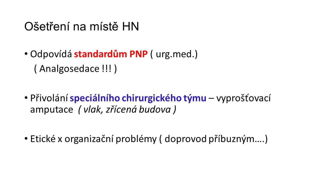 Ošetření na místě HN Odpovídá standardům PNP ( urg.med.) ( Analgosedace !!.