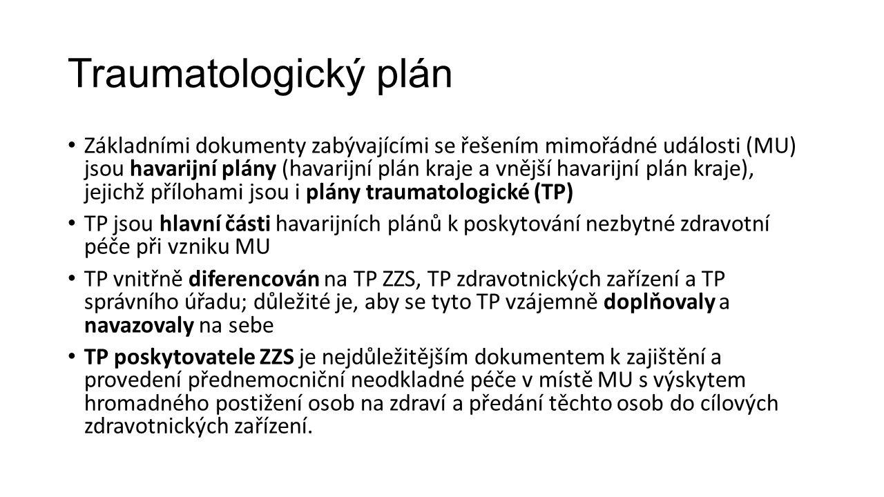 Traumatologický plán Základními dokumenty zabývajícími se řešením mimořádné události (MU) jsou havarijní plány (havarijní plán kraje a vnější havarijní plán kraje), jejichž přílohami jsou i plány traumatologické (TP) TP jsou hlavní části havarijních plánů k poskytování nezbytné zdravotní péče při vzniku MU TP vnitřně diferencován na TP ZZS, TP zdravotnických zařízení a TP správního úřadu; důležité je, aby se tyto TP vzájemně doplňovaly a navazovaly na sebe TP poskytovatele ZZS je nejdůležitějším dokumentem k zajištění a provedení přednemocniční neodkladné péče v místě MU s výskytem hromadného postižení osob na zdraví a předání těchto osob do cílových zdravotnických zařízení.