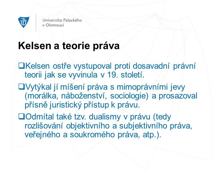 Kelsen a teorie práva  Kelsen ostře vystupoval proti dosavadní právní teorii jak se vyvinula v 19.