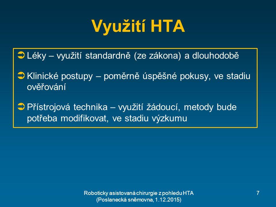 Využití HTA  Léky – využití standardně (ze zákona) a dlouhodobě  Klinické postupy – poměrně úspěšné pokusy, ve stadiu ověřování  Přístrojová technika – využití žádoucí, metody bude potřeba modifikovat, ve stadiu výzkumu 7Roboticky asistovaná chirurgie z pohledu HTA (Poslanecká sněmovna, 1.12.2015)