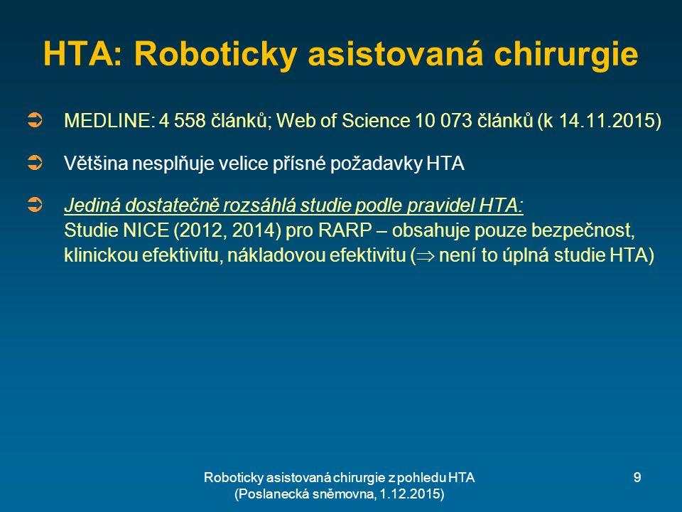 HTA: Roboticky asistovaná chirurgie Roboticky asistovaná chirurgie z pohledu HTA (Poslanecká sněmovna, 1.12.2015)  MEDLINE: 4 558 článků; Web of Science 10 073 článků (k 14.11.2015)  Většina nesplňuje velice přísné požadavky HTA  Jediná dostatečně rozsáhlá studie podle pravidel HTA: Studie NICE (2012, 2014) pro RARP – obsahuje pouze bezpečnost, klinickou efektivitu, nákladovou efektivitu (  není to úplná studie HTA) 9
