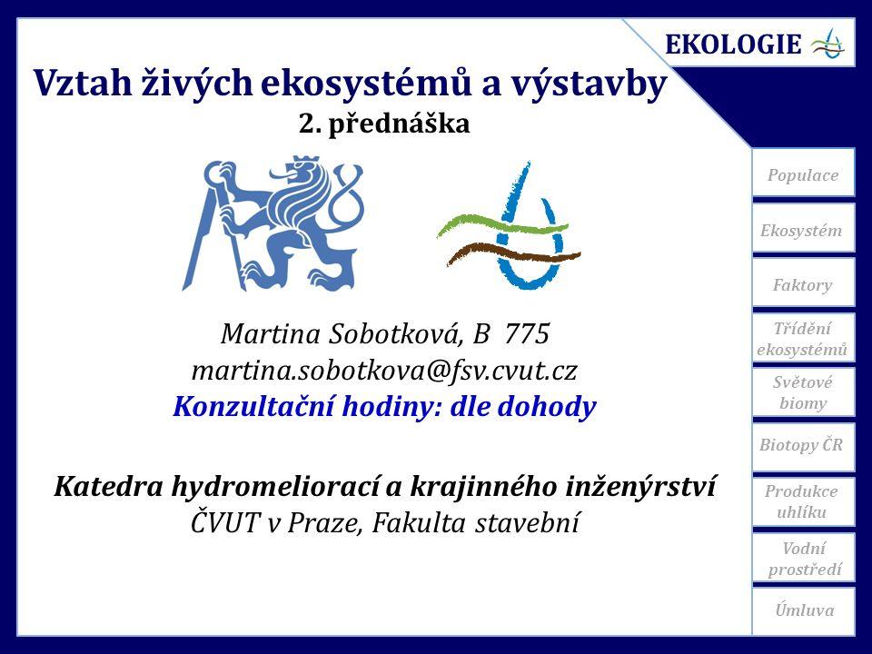 Ekosystém Světové biomy Populace Vztah živých ekosystémů a výstavby 2.