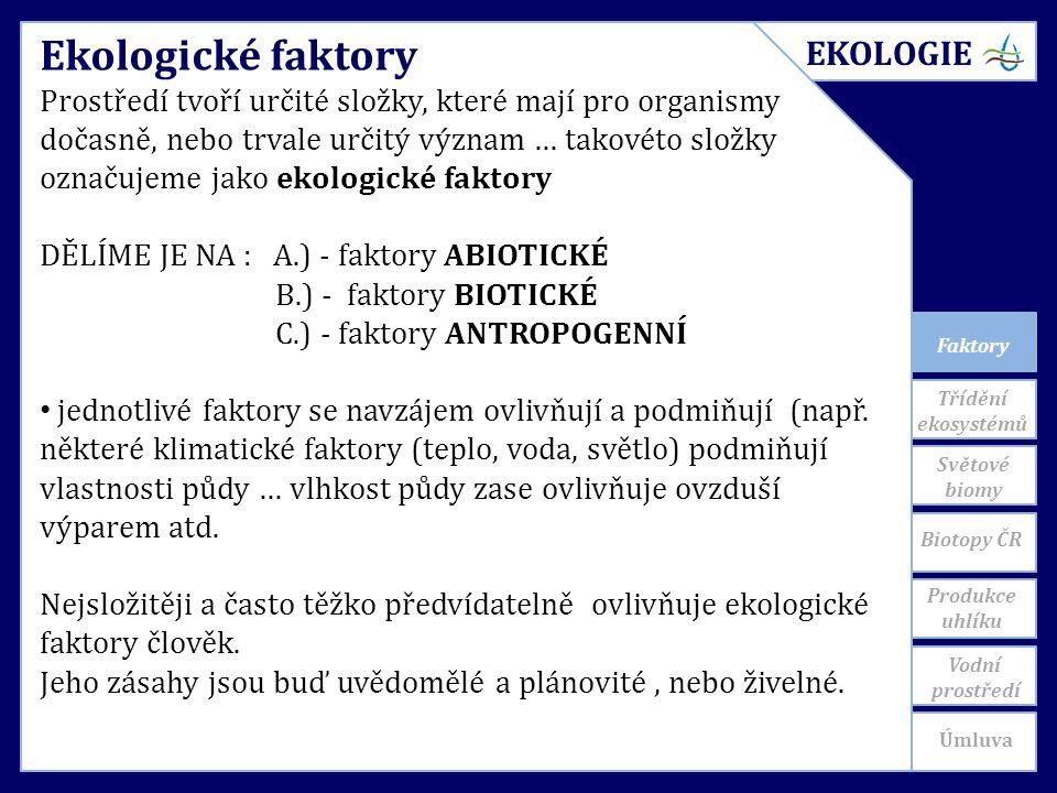 Faktory Ekologické faktory Prostředí tvoří určité složky, které mají pro organismy dočasně, nebo trvale určitý význam … takovéto složky označujeme jako ekologické faktory DĚLÍME JE NA : A.) - faktory ABIOTICKÉ B.) - faktory BIOTICKÉ C.) - faktory ANTROPOGENNÍ jednotlivé faktory se navzájem ovlivňují a podmiňují (např.