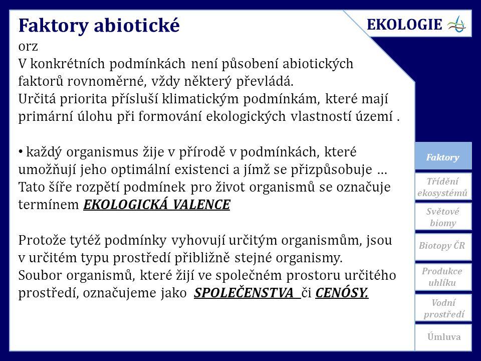 Faktory Faktory abiotické orz V konkrétních podmínkách není působení abiotických faktorů rovnoměrné, vždy některý převládá.