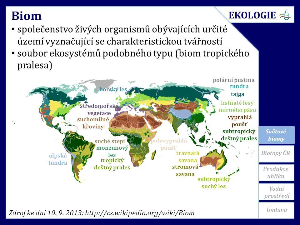 Světové biomy Produkce uhlíku Biom společenstvo živých organismů obývajících určité území vyznačující se charakteristickou tvářností soubor ekosystémů podobného typu (biom tropického pralesa) Zdroj ke dni 10.