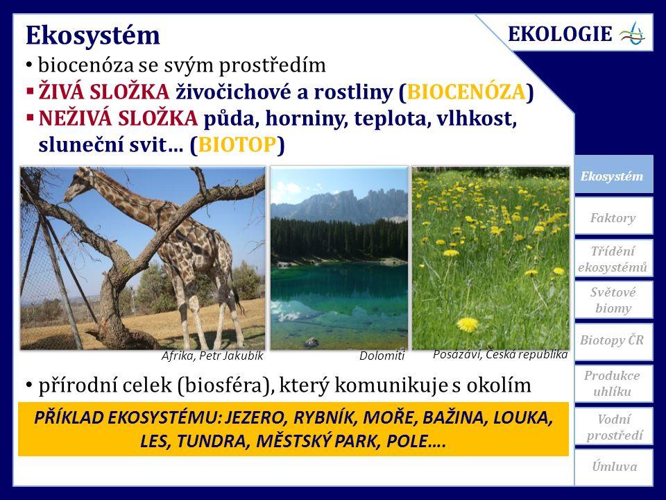 Ekosystém Světové biomy Ekosystém biocenóza se svým prostředím  ŽIVÁ SLOŽKA živočichové a rostliny (BIOCENÓZA)  NEŽIVÁ SLOŽKA půda, horniny, teplota, vlhkost, sluneční svit… (BIOTOP) přírodní celek (biosféra), který komunikuje s okolím Afrika, Petr JakubíkDolomiti Posázáví, Česká republika PŘÍKLAD EKOSYSTÉMU: JEZERO, RYBNÍK, MOŘE, BAŽINA, LOUKA, LES, TUNDRA, MĚSTSKÝ PARK, POLE….
