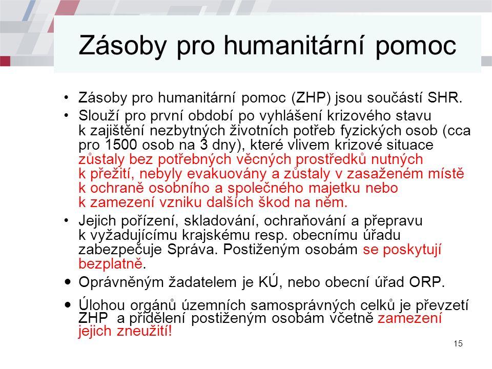 Zásoby pro humanitární pomoc Zásoby pro humanitární pomoc (ZHP) jsou součástí SHR.