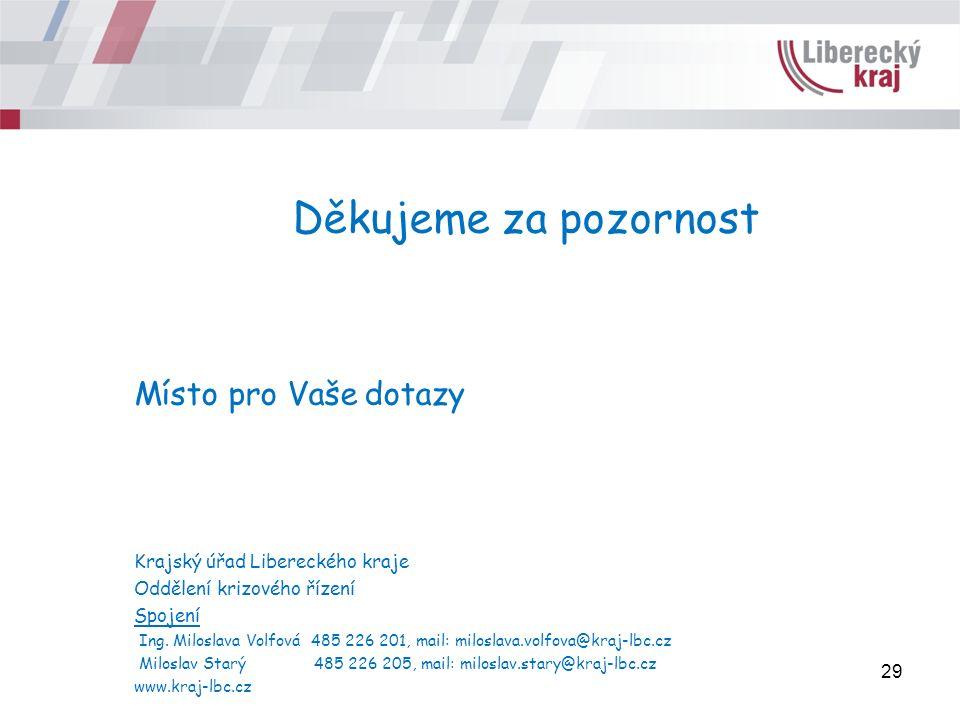 Děkujeme za pozornost Místo pro Vaše dotazy Krajský úřad Libereckého kraje Oddělení krizového řízení Spojení Ing.