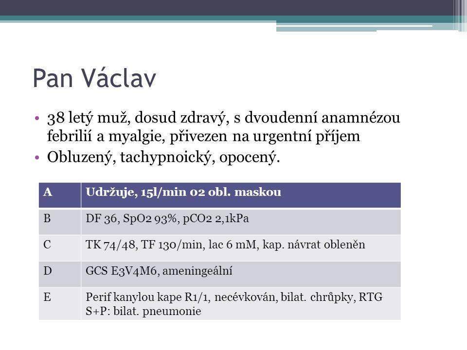 Pan Václav 38 letý muž, dosud zdravý, s dvoudenní anamnézou febrilií a myalgie, přivezen na urgentní příjem Obluzený, tachypnoický, opocený. AUdržuje,