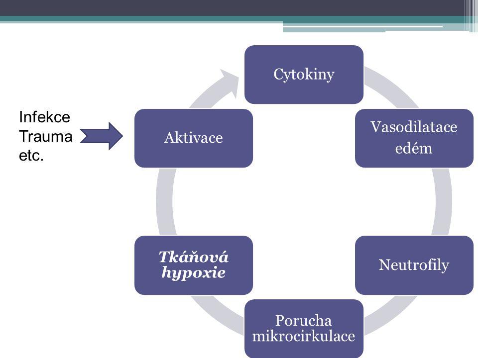 Cytokiny Vasodilatace edém Neutrofily Porucha mikrocirkulace Tkáňová hypoxie Aktivace Infekce Trauma etc.