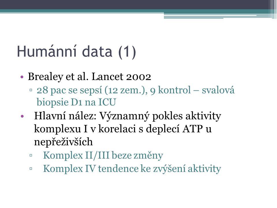 Humánní data (1) Brealey et al. Lancet 2002 ▫28 pac se sepsí (12 zem.), 9 kontrol – svalová biopsie D1 na ICU Hlavní nález: Významný pokles aktivity k