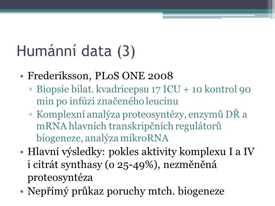 Humánní data (3) Frederiksson, PLoS ONE 2008 ▫Biopsie bilat. kvadricepsu 17 ICU + 10 kontrol 90 min po infúzi značeného leucinu ▫Komplexní analýza pro