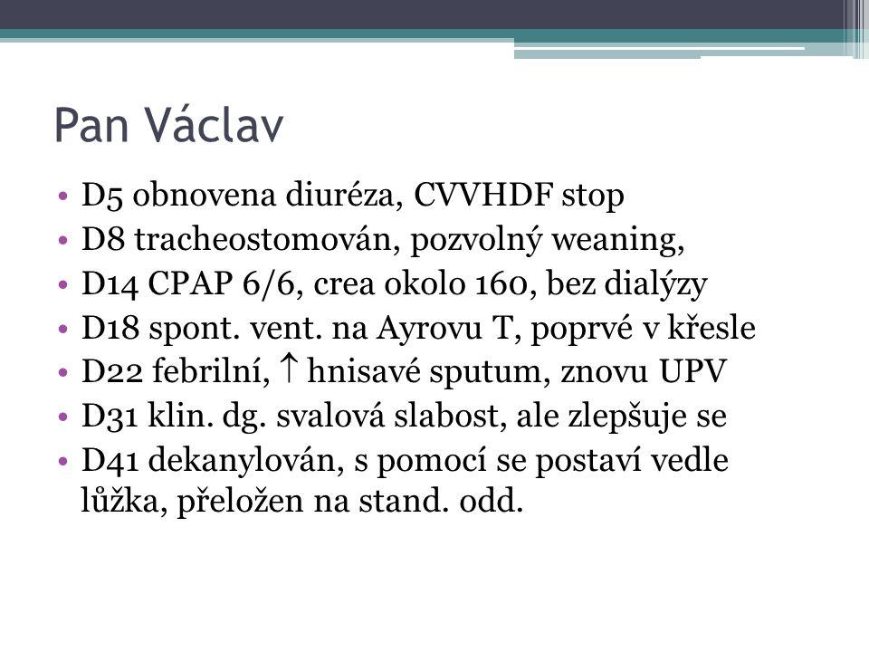 Pan Václav D5 obnovena diuréza, CVVHDF stop D8 tracheostomován, pozvolný weaning, D14 CPAP 6/6, crea okolo 160, bez dialýzy D18 spont. vent. na Ayrovu