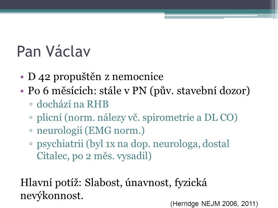 Pan Václav D 42 propuštěn z nemocnice Po 6 měsících: stále v PN (pův. stavební dozor) ▫dochází na RHB ▫plicní (norm. nálezy vč. spirometrie a DL CO) ▫