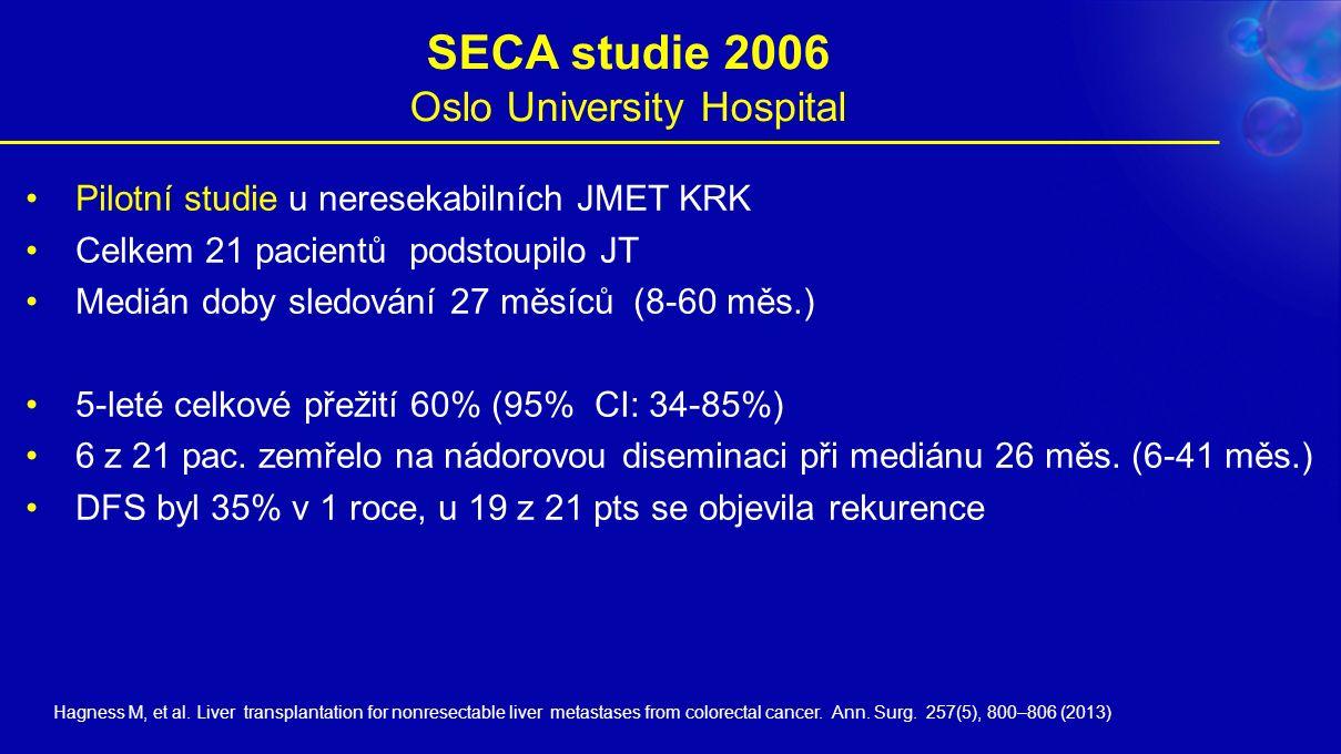 SECA studie 2006 Oslo University Hospital Pilotní studie u neresekabilních JMET KRK Celkem 21 pacientů podstoupilo JT Medián doby sledování 27 měsíců (8-60 měs.) 5-leté celkové přežití 60% (95% CI: 34-85%) 6 z 21 pac.