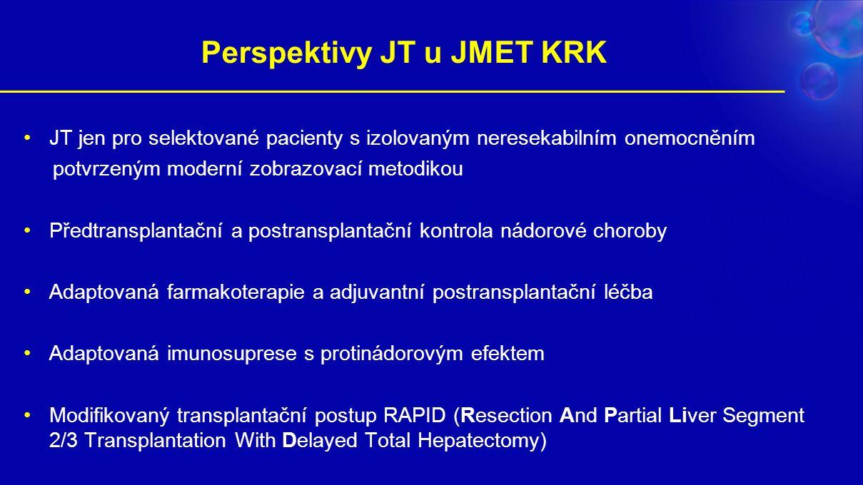 Perspektivy JT u JMET KRK JT jen pro selektované pacienty s izolovaným neresekabilním onemocněním potvrzeným moderní zobrazovací metodikou Předtransplantační a postransplantační kontrola nádorové choroby Adaptovaná farmakoterapie a adjuvantní postransplantační léčba Adaptovaná imunosuprese s protinádorovým efektem Modifikovaný transplantační postup RAPID (Resection And Partial Liver Segment 2/3 Transplantation With Delayed Total Hepatectomy)