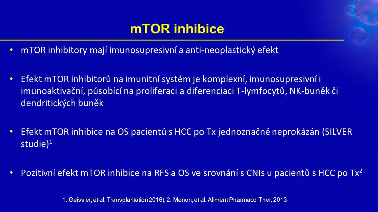 mTOR inhibice mTOR inhibitory mají imunosupresivní a anti-neoplastický efekt Efekt mTOR inhibitorů na imunitní systém je komplexní, imunosupresivní i imunoaktivační, působící na proliferaci a diferenciaci T-lymfocytů, NK-buněk či dendritických buněk Efekt mTOR inhibice na OS pacientů s HCC po Tx jednoznačně neprokázán (SILVER studie) 1 Pozitivní efekt mTOR inhibice na RFS a OS ve srovnání s CNIs u pacientů s HCC po Tx 2 1.