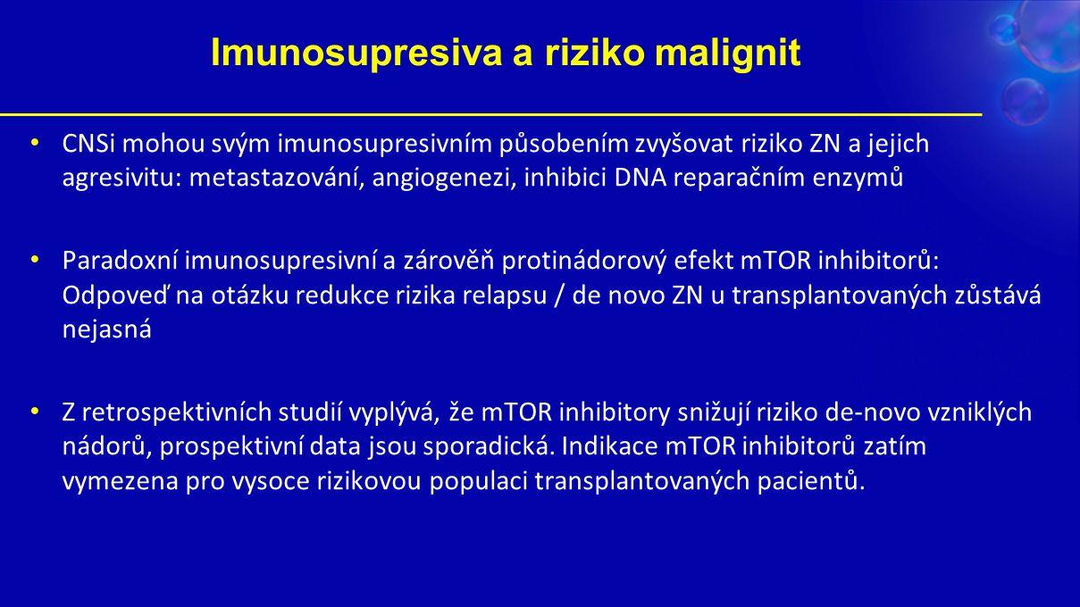 Imunosupresiva a riziko malignit CNSi mohou svým imunosupresivním působením zvyšovat riziko ZN a jejich agresivitu: metastazování, angiogenezi, inhibici DNA reparačním enzymů Paradoxní imunosupresivní a zárověň protinádorový efekt mTOR inhibitorů: Odpoveď na otázku redukce rizika relapsu / de novo ZN u transplantovaných zůstává nejasná Z retrospektivních studií vyplývá, že mTOR inhibitory snižují riziko de-novo vzniklých nádorů, prospektivní data jsou sporadická.