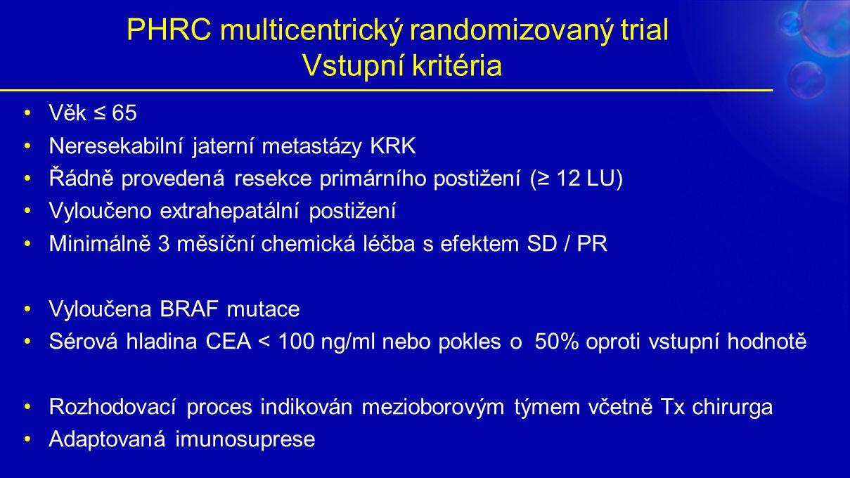 PHRC multicentrický randomizovaný trial Vstupní kritéria Věk ≤ 65 Neresekabilní jaterní metastázy KRK Řádně provedená resekce primárního postižení (≥ 12 LU) Vyloučeno extrahepatální postižení Minimálně 3 měsíční chemická léčba s efektem SD / PR Vyloučena BRAF mutace Sérová hladina CEA < 100 ng/ml nebo pokles o 50% oproti vstupní hodnotě Rozhodovací proces indikován mezioborovým týmem včetně Tx chirurga Adaptovaná imunosuprese