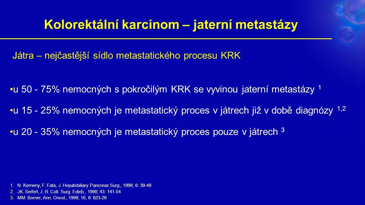 Kolorektální karcinom – jaterní metastázy 1.N. Kemeny, F. Fata, J. Hepatobiliary Pancreas Surg., 1999; 6: 39-49 2.JK. Seifert, J. R. Coll. Surg. Edinb
