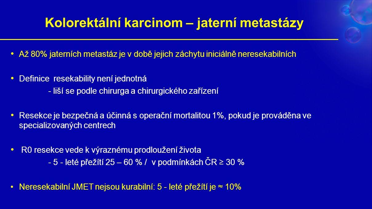 Kolorektální karcinom – jaterní metastázy Až 80% jaterních metastáz je v době jejich záchytu iniciálně neresekabilních Definice resekability není jednotná - liší se podle chirurga a chirurgického zařízení Resekce je bezpečná a účinná s operační mortalitou 1%, pokud je prováděna ve specializovaných centrech R0 resekce vede k výraznému prodloužení života - 5 - leté přežítí 25 – 60 % / v podmínkách ČR ≥ 30 % Neresekabilní JMET nejsou kurabilní: 5 - leté přežítí je ≈ 10%