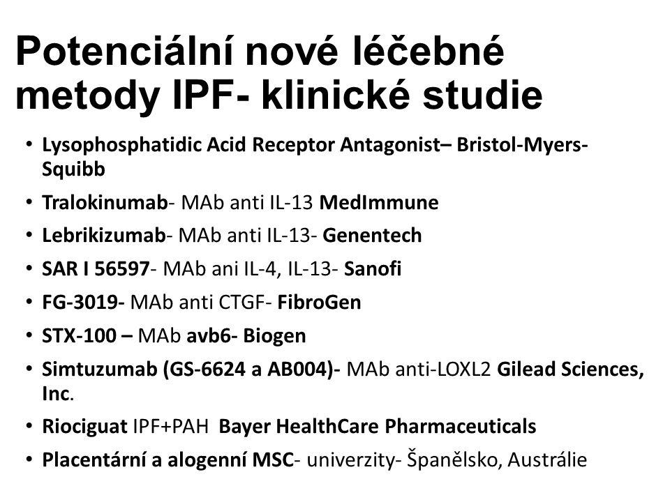 Potenciální nové léčebné metody IPF- klinické studie Lysophosphatidic Acid Receptor Antagonist– Bristol-Myers- Squibb Tralokinumab- MAb anti IL-13 MedImmune Lebrikizumab- MAb anti IL-13- Genentech SAR I 56597- MAb ani IL-4, IL-13- Sanofi FG-3019- MAb anti CTGF- FibroGen STX-100 – MAb avb6- Biogen Simtuzumab (GS-6624 a AB004)- MAb anti-LOXL2 Gilead Sciences, Inc.