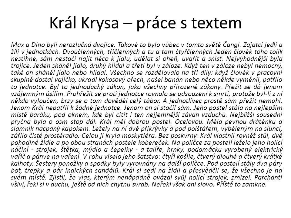"""Král Krysa – práce s textem """"Péťo, měl by ses poohlídnout ve Spojených státech."""