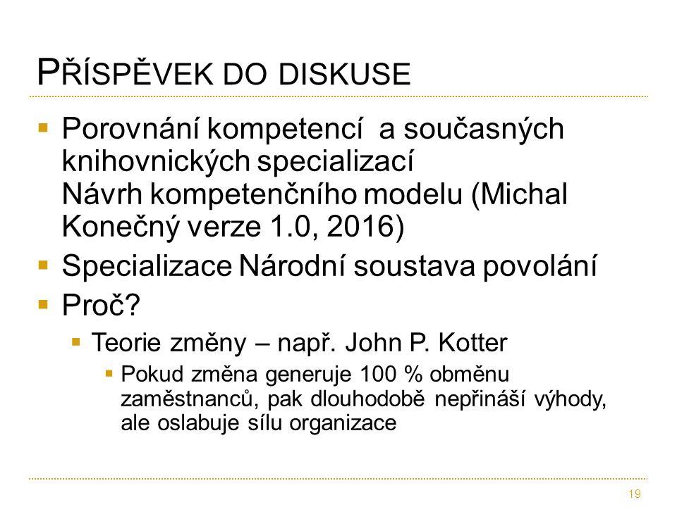  Porovnání kompetencí a současných knihovnických specializací Návrh kompetenčního modelu (Michal Konečný verze 1.0, 2016)  Specializace Národní sous