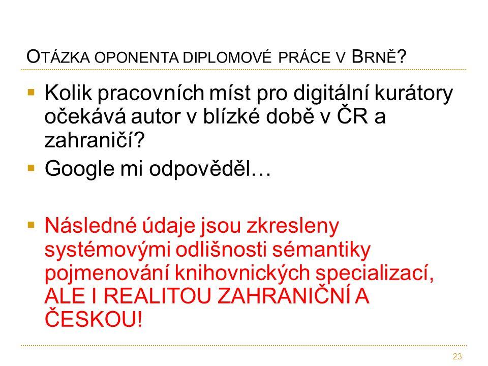  Kolik pracovních míst pro digitální kurátory očekává autor v blízké době v ČR a zahraničí?  Google mi odpověděl…  Následné údaje jsou zkresleny sy