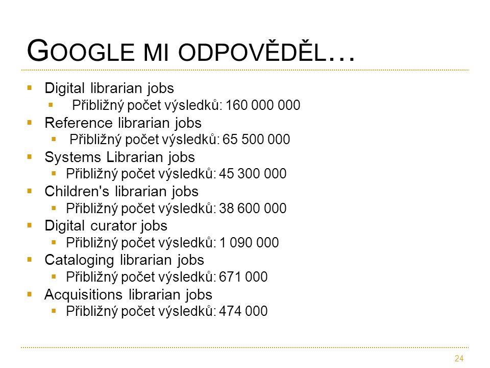  Digital librarian jobs  Přibližný počet výsledků: 160 000 000  Reference librarian jobs  Přibližný počet výsledků: 65 500 000  Systems Librarian