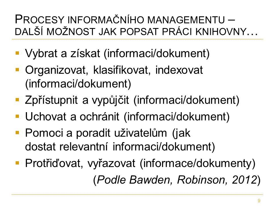  Vybrat a získat (informaci/dokument)  Organizovat, klasifikovat, indexovat (informaci/dokument)  Zpřístupnit a vypůjčit (informaci/dokument)  Uch