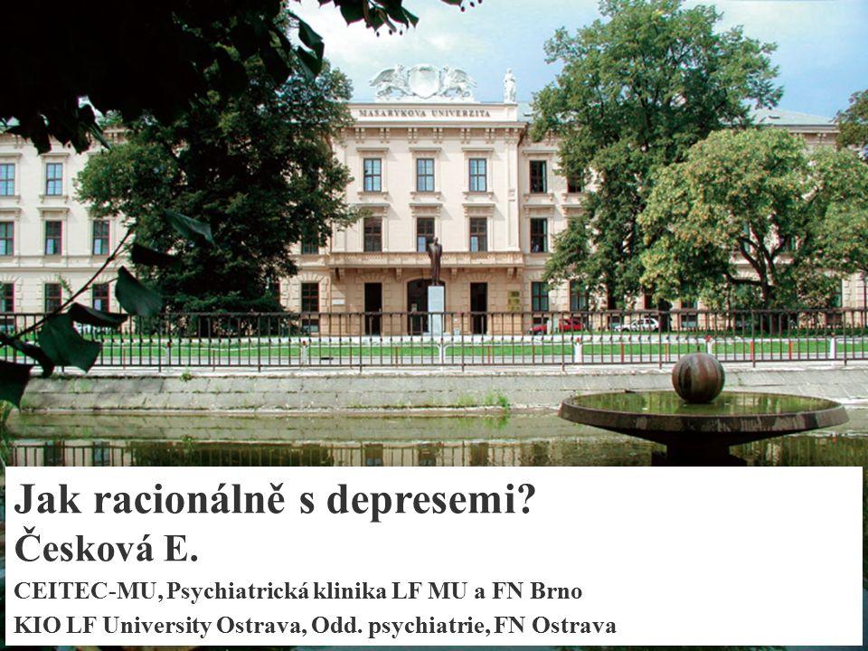 Individuální volba AD: Dle komorbidity Deprese - nejčastější psychiatrický problém komplikující léčbu a prognózu nemocných se somatickými chorobami (špatná adherence, rychlejší progrese, ↑nákladů a ↑ mortality) Deprese ↔ somatická onemocnění (kardiovaskulární a cerebrovaskulární onemocnění, diabetes a Alzheimerova a Parkinsonova choroba), nezávislý rizikový faktor