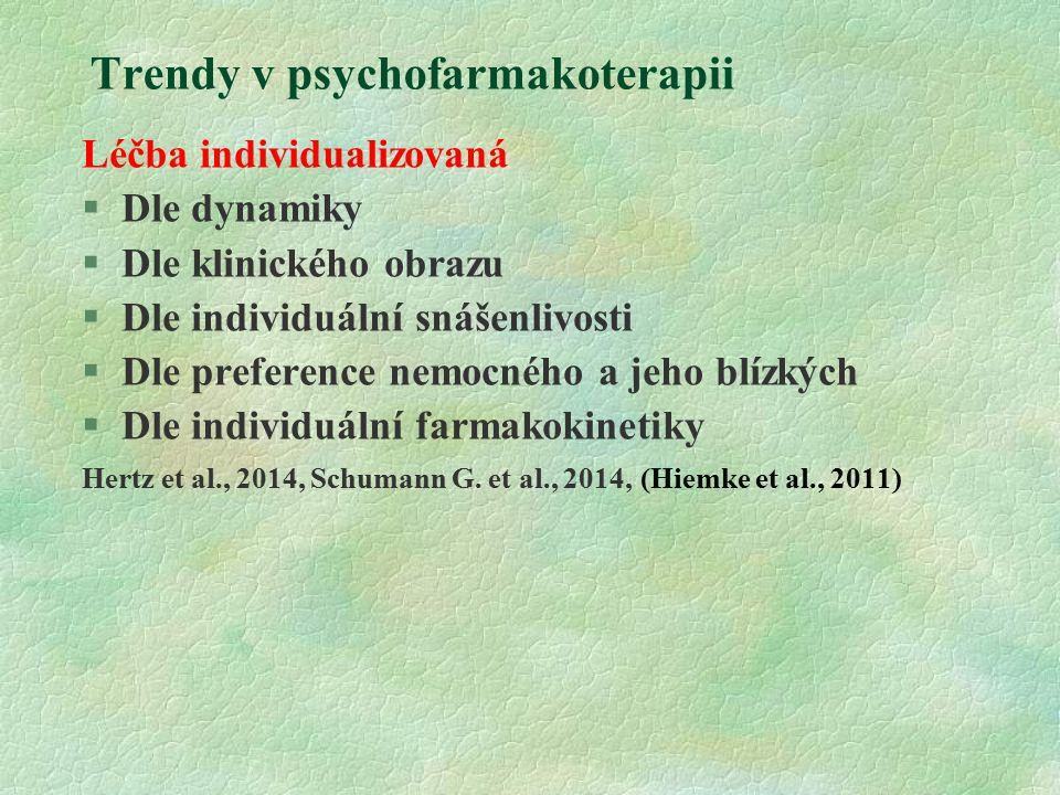 Trendy v psychofarmakoterapii Léčba individualizovaná  Dle dynamiky  Dle klinického obrazu  Dle individuální snášenlivosti  Dle preference nemocného a jeho blízkých  Dle individuální farmakokinetiky Hertz et al., 2014, Schumann G.