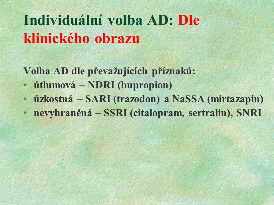 Individuální volba AD: Dle klinického obrazu Volba AD dle převažujících příznaků: útlumová – NDRI (bupropion) úzkostná – SARI (trazodon) a NaSSA (mirtazapin) nevyhraněná – SSRI (citalopram, sertralin), SNRI