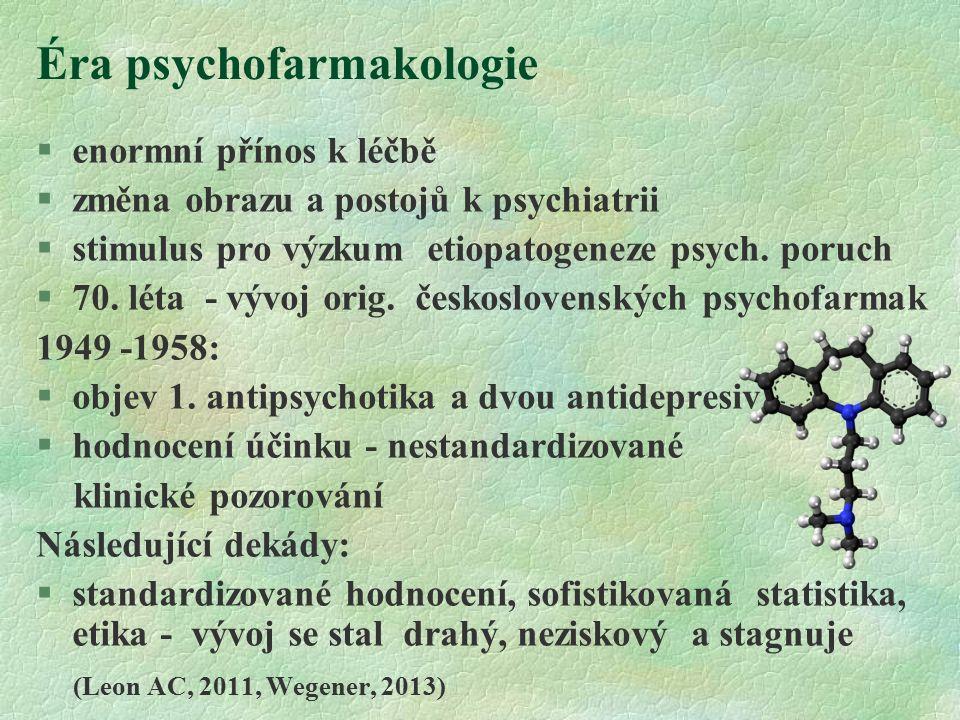 Éra psychofarmakologie  enormní přínos k léčbě  změna obrazu a postojů k psychiatrii  stimulus pro výzkum etiopatogeneze psych.