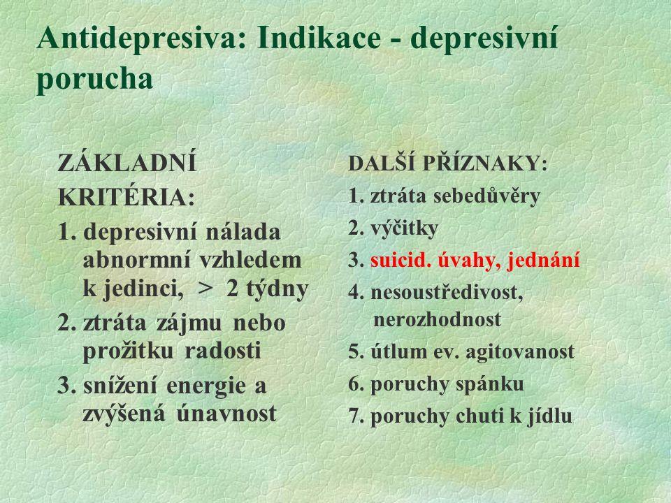Antidepresiva: Indikace - depresivní porucha ZÁKLADNÍ KRITÉRIA: 1.