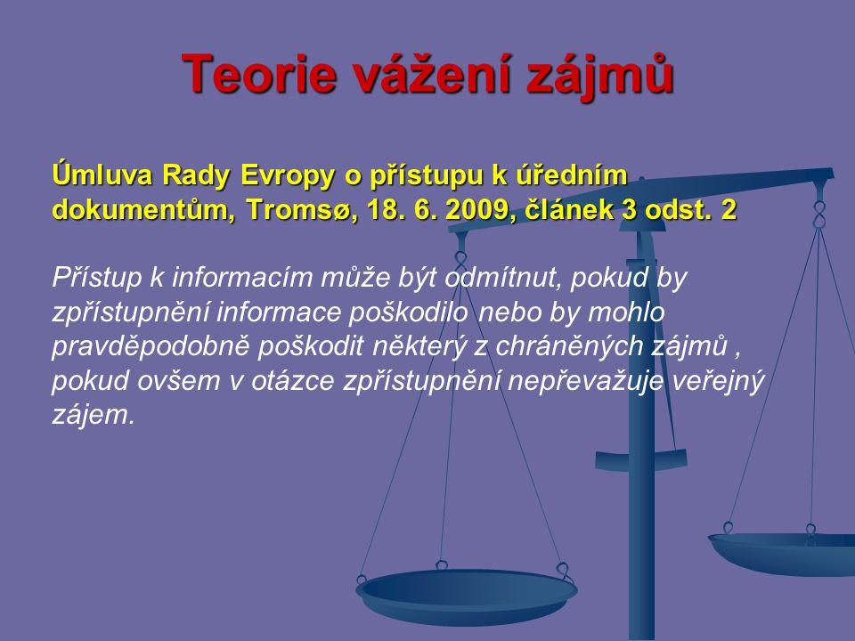 Teorie vážení zájmů Případnou konkurenci dvou základních práv realizovaných dvěma zákonnými normami stejné právní síly sledujícími dva odlišné cíle je na místě vyřešit za použití teorie vážení zájmů tj.