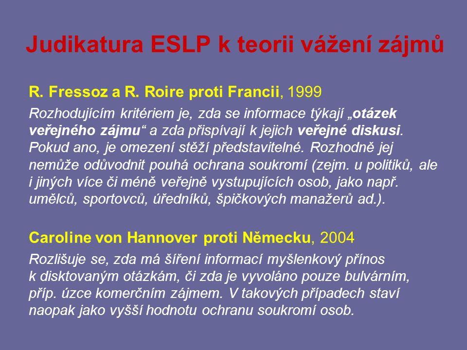 Teorie vážení zájmů Návrh novely InfZ, MV ČR, 2013, § 12 odst.