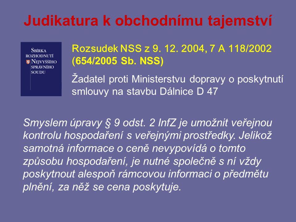 Omezení ochrany obchodního tajemství § 9 odst.