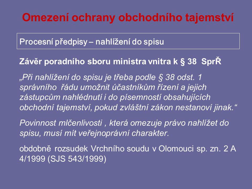 Omezení ochrany obchodního tajemství Zvláštní předpisy – chemie Čl.