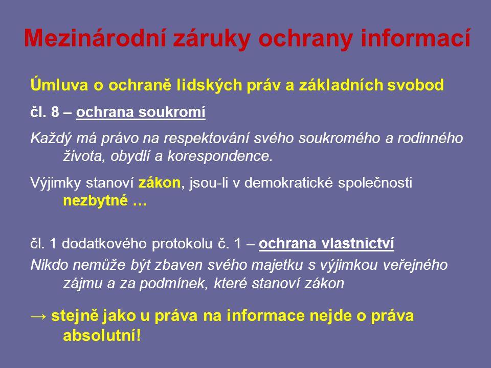 Ústavní princip ochrany informací Listina základních práv a svobod Čl.