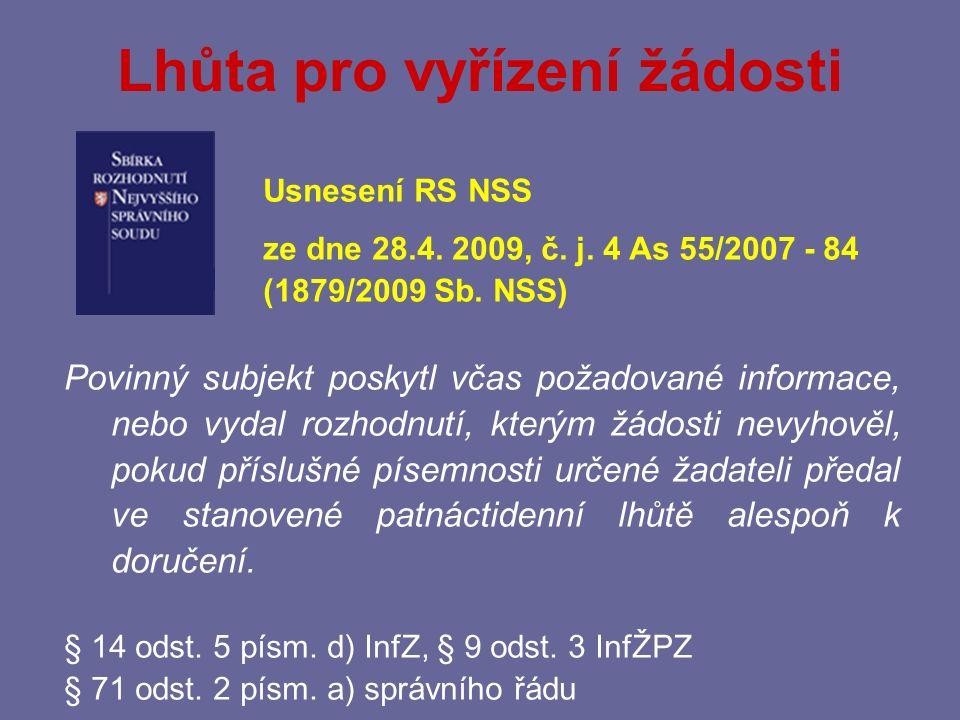 Přezkoumatelnost odložení žádosti Rozsudek Nejvyššího správního soudu ze dne 26.4.2011, č.