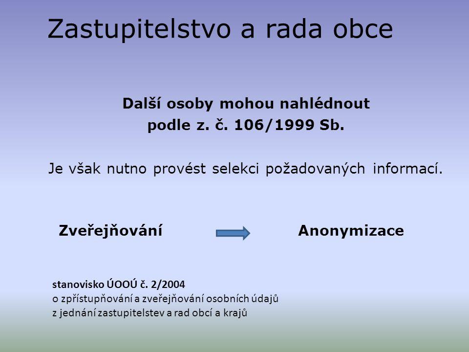 Zastupitelstvo a rada obce Další osoby mohou nahlédnout podle z. č. 106/1999 Sb. Je však nutno provést selekci požadovaných informací. Zveřejňování An