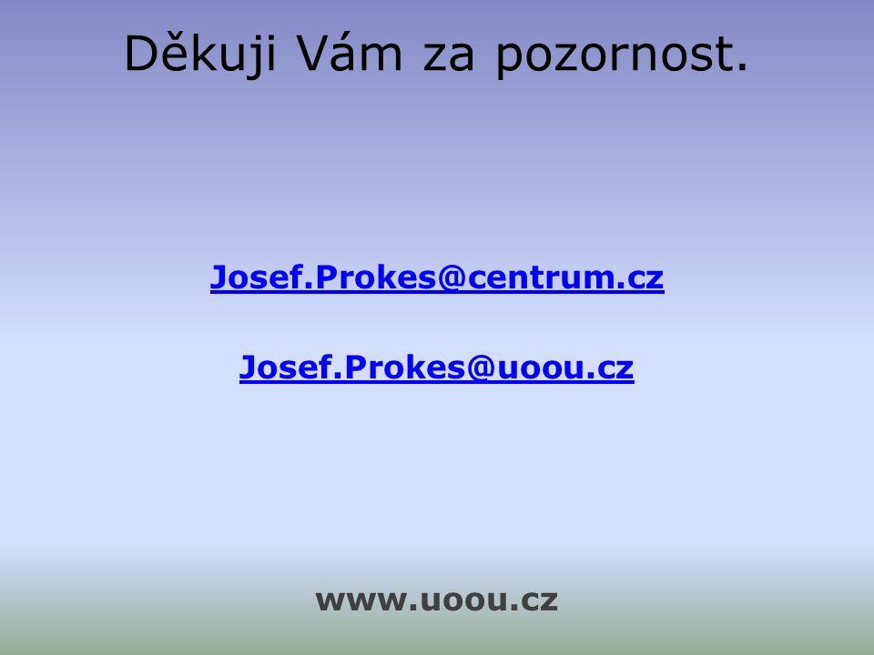 Děkuji Vám za pozornost. Josef.Prokes@centrum.cz Josef.Prokes@uoou.cz www.uoou.cz