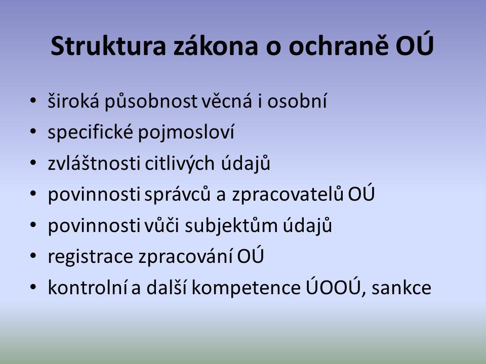 Struktura zákona o ochraně OÚ široká působnost věcná i osobní specifické pojmosloví zvláštnosti citlivých údajů povinnosti správců a zpracovatelů OÚ p
