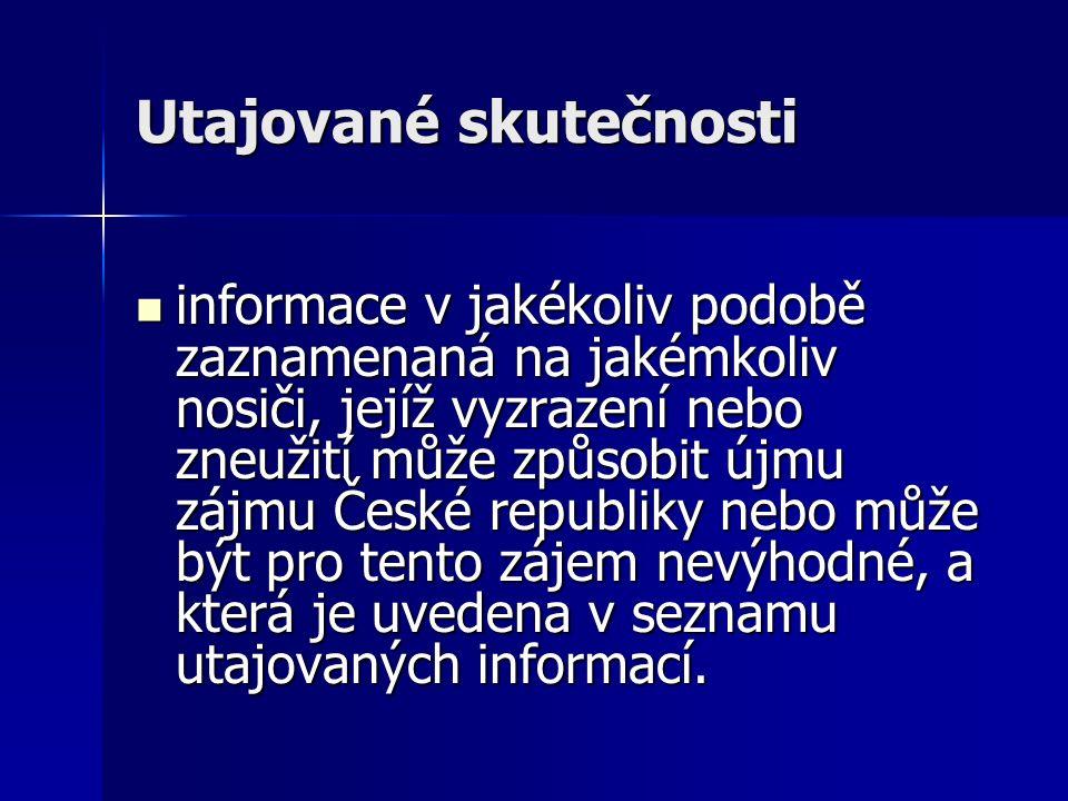 Utajované skutečnosti informace v jakékoliv podobě zaznamenaná na jakémkoliv nosiči, jejíž vyzrazení nebo zneužití může způsobit újmu zájmu České republiky nebo může být pro tento zájem nevýhodné, a která je uvedena v seznamu utajovaných informací.